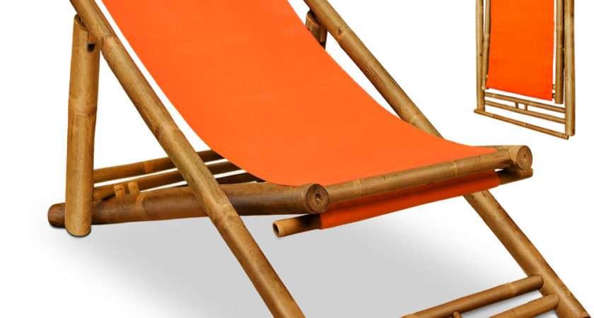 Wooden Deck Chair Bamboo Headrest Sun Lounger Garden