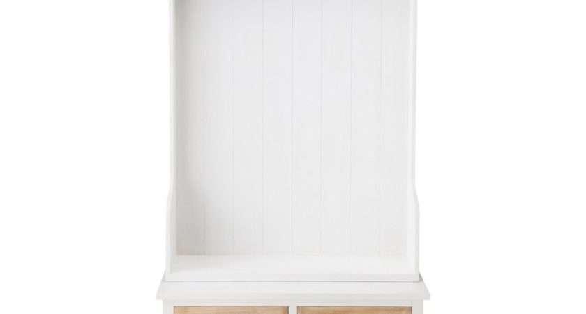Wooden Hallway Unit Hooks White Ouessant