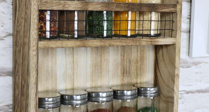 Wooden Heart Spice Rack Hooks Melody Maison