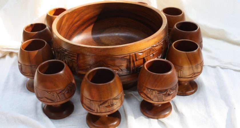 Wooden Punch Bowl Set Vintage Tiki Browndogemporium