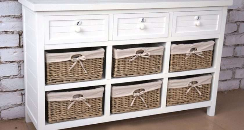 Wooden Sideboard Baskets Ocean Lifestyle Nautical