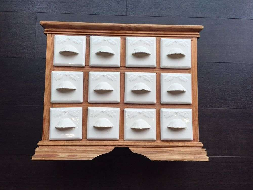Wooden Spice Rack Ceramic Drawers Ebay