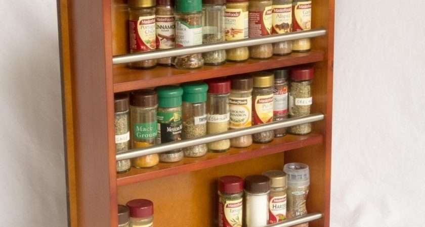 Wooden Spice Rack Closed Top Tiers Stainless Steel