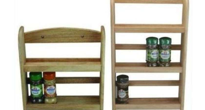 Wooden Spice Rack Jar Holder Stand Wall Mounted Natural