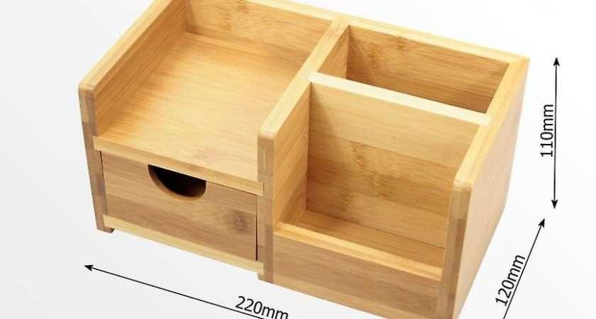 Woodquail Bamboo Desk Organiser Pen Holder Drawer
