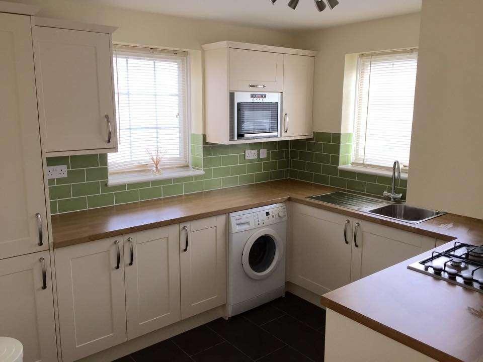 Worktops Chrome Appliances Sage Green Tiled Splash Back