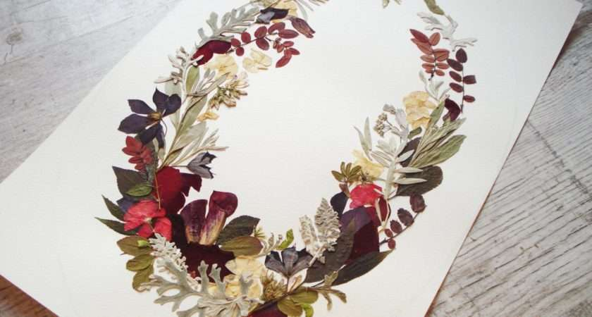Wreath Botanical Pressed Flowers Floral Collage