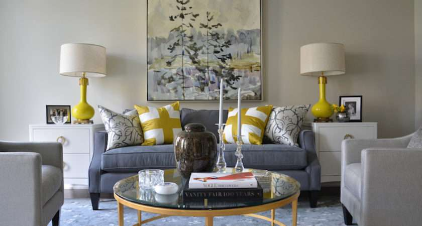 Yellow Blue Rooms Transitional Living Room