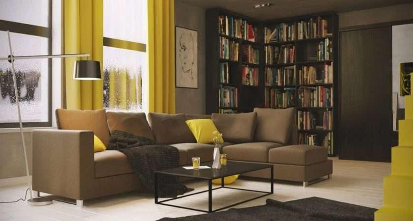 Yellow Brown Living Room Ideas Peenmedia