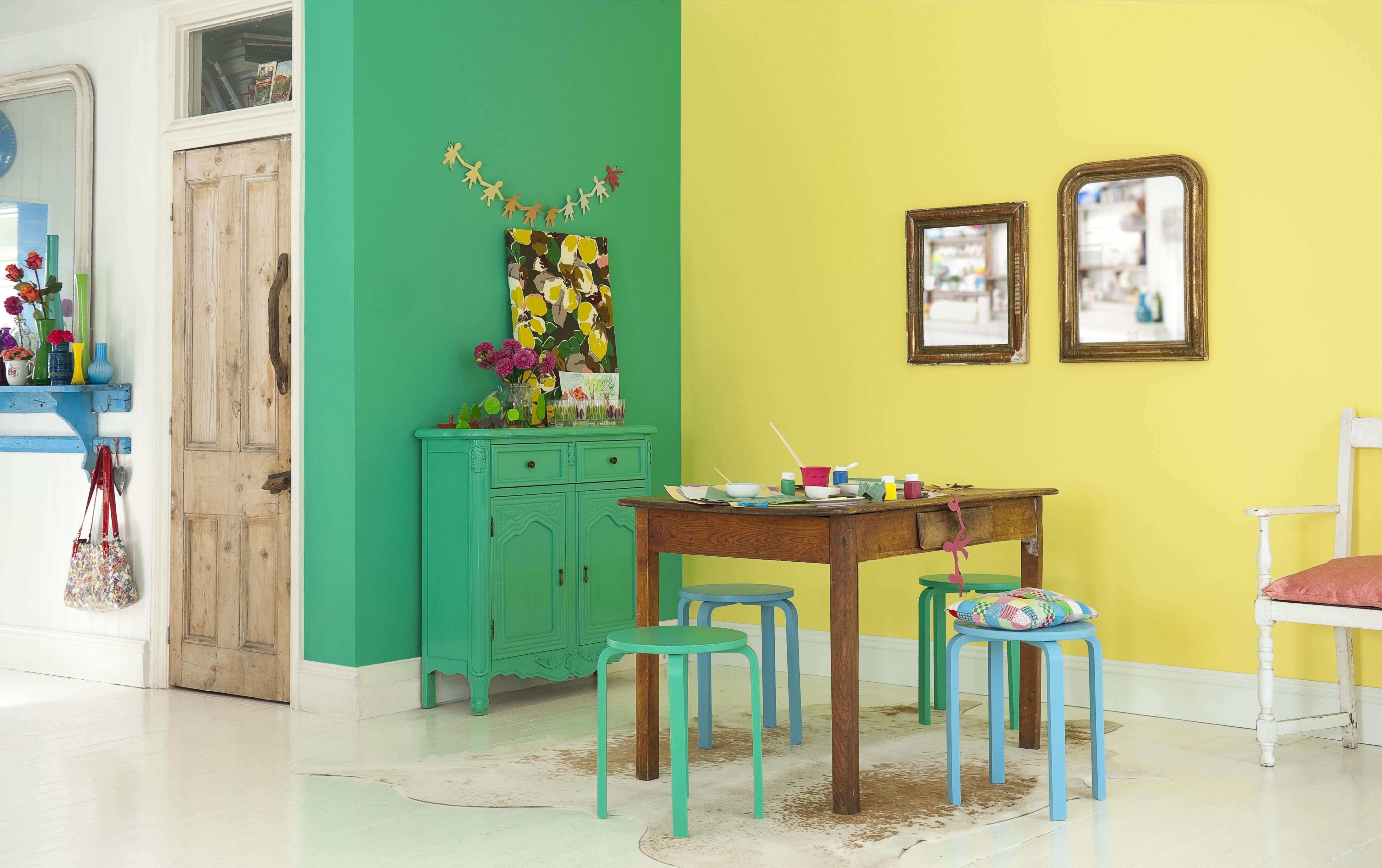 Yellow Forest Falls Green Create Colourful Dining Room