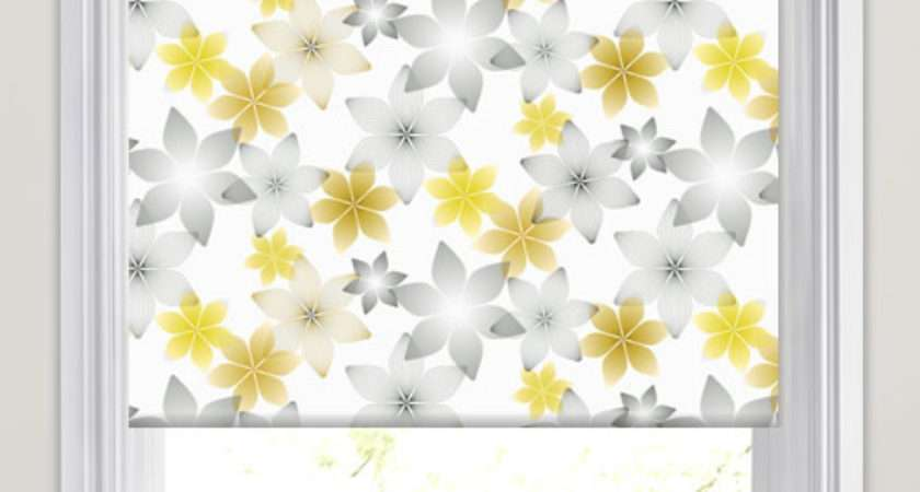Yellow Gold Grey White Geometric Floral Patterned
