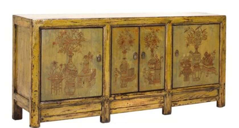 Yellow Green Floral Sideboard Buffet Table Chairish