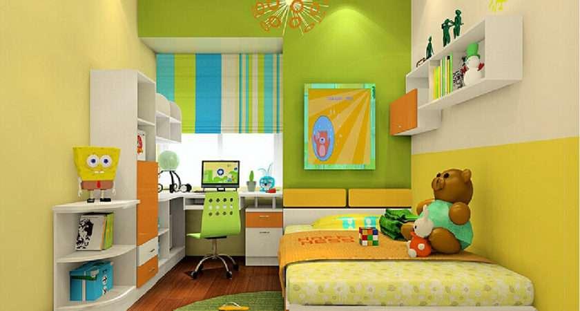 Yellow Green Wall Units Teenager Room