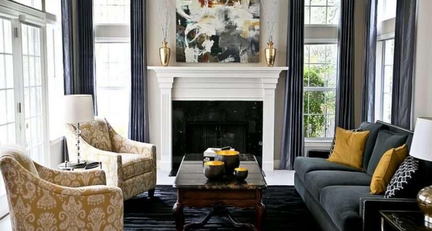 Yellow Navy Grey Living Room