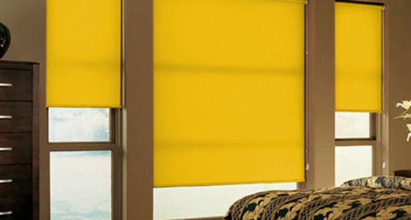 Yellow Roller Blinds Window