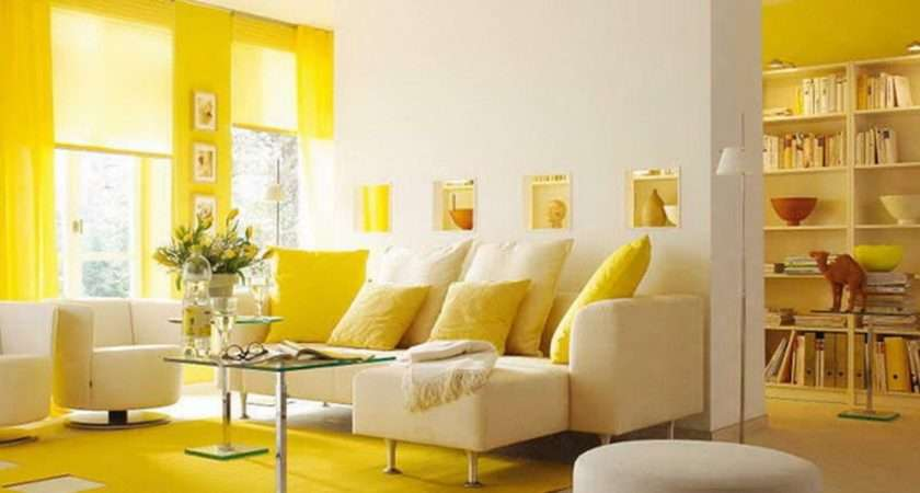 Yellow Themed Living Room Design Ideas Interior